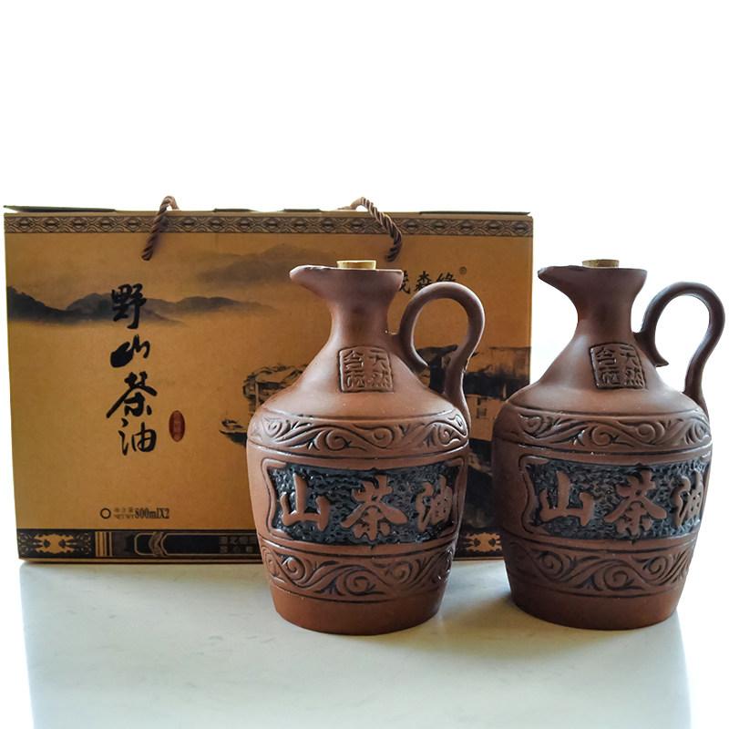 茂森缘野山茶油 有机山茶籽油 食用油 一级茶油800ml2瓶礼盒 纯压榨茶籽油 恩施特产