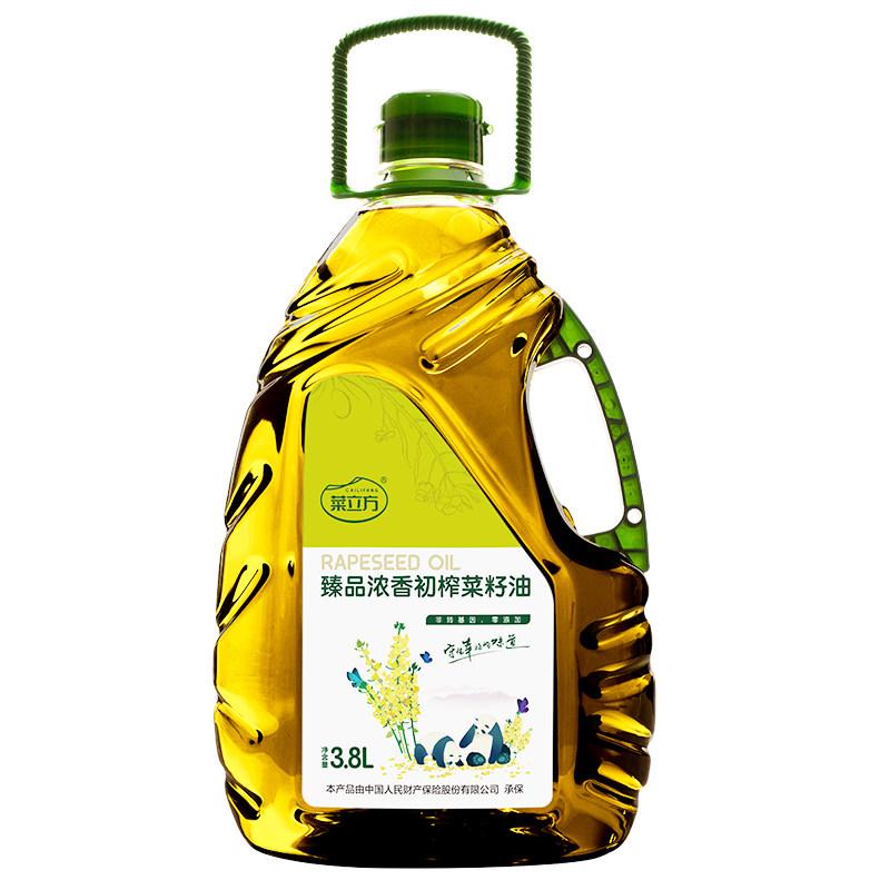 四川省广安市广安区菜立方臻品浓香初榨菜籽油3.8L桶装