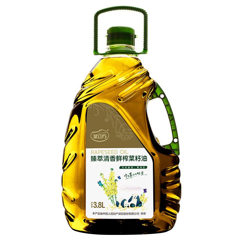 四川省广安市广安区菜立方臻萃清香鲜榨菜籽油3.8L桶装