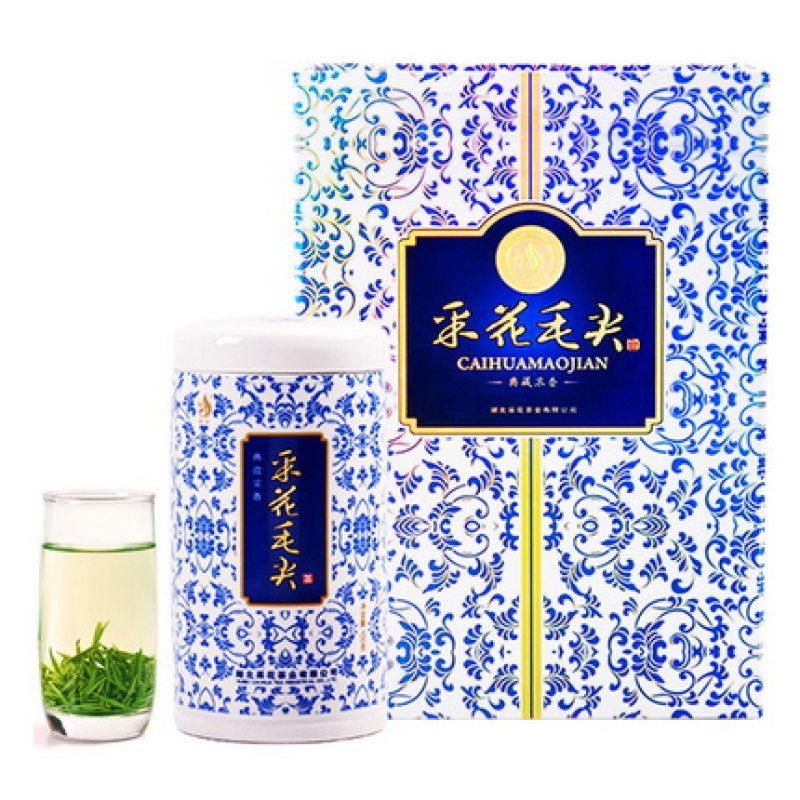 【2020新茶现货】采花毛尖五峰绿茶明前春茶叶浓香青花瓷礼盒150g